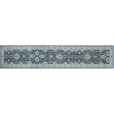 One-of-a-Kind Leann Hand-Knotted Oriental Rectangle Gray Wool Indoor Area Rug