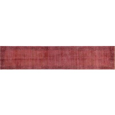 Distressed Overdyed Almir Hand-Knotted Red Area Rug