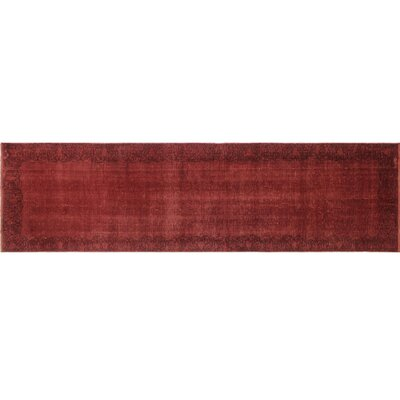 One-of-a-Kind Distressed Overdyed Aryan Hand-Knotted Red Area Rug