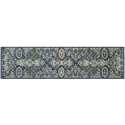 One-of-a-Kind Leann Hand-Knotted Dark Blue Area Rug