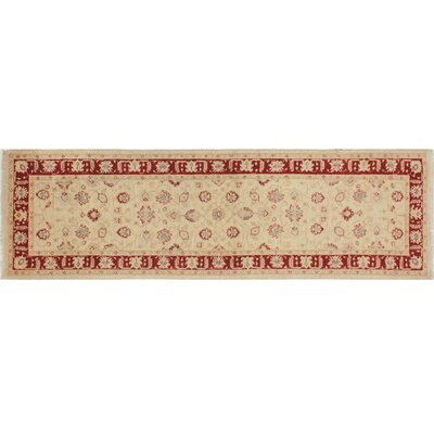 Leann Hand-Knotted Ivory/Red Area Rug