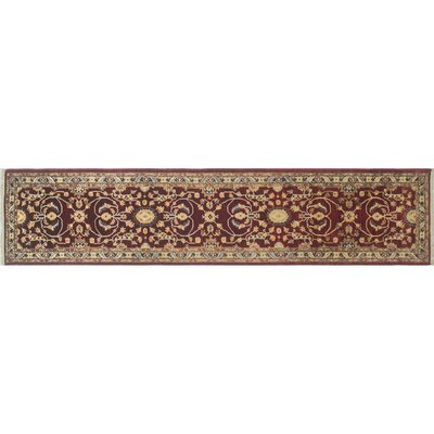 One-of-a-Kind Leann Hand-Knotted Oriental Red Area Rug