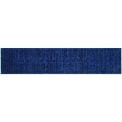 Overdyed Olghetta Hand-Knotted Ink Blue Area Rug