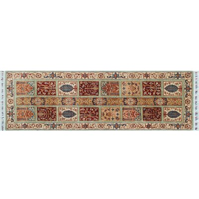 Acer Hand-Knotted Rectangle Light Green Area Rug