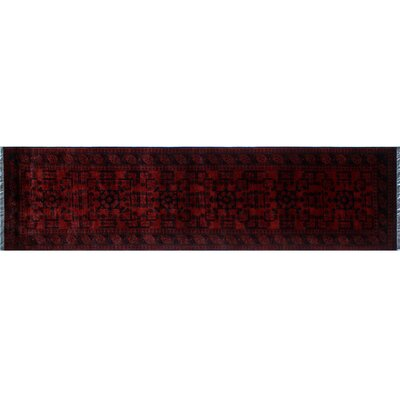 Alban Hand-Knotted Rectangle Red Wool Oriental Area Rug