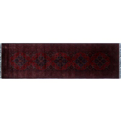 One-of-a-Kind Alban Neutral Hand-Knotted Premium Wool Red Area Rug