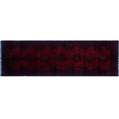 Alban Hand-Knotted Rectangle Red Premium Wool Border Area Rug
