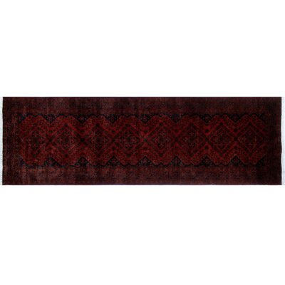 One-of-a-Kind Alban Hand-Knotted Red Geometric Premium Wool Area Rug