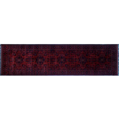Alban Tribal Hand-Knotted Red Fringe Border Area Rug