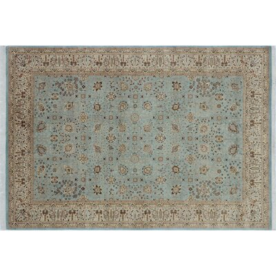 Arthen Border Hand Knotted Wool Blue Area Rug Rug Size: Rectangle 63 x 91