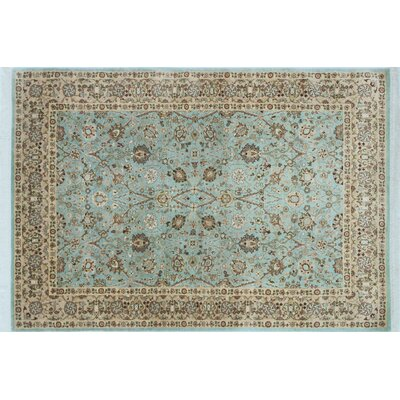Arthen Hand-Knotted Rectangle Blue Area Rug