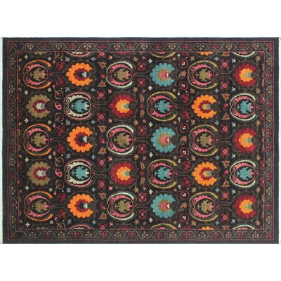One-of-a-Kind Hardwick Hand-Knotted Black Area Rug