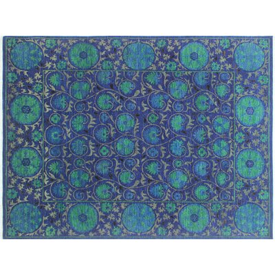 Hardwick Hand-Knotted Rectangle Blue Area Rug