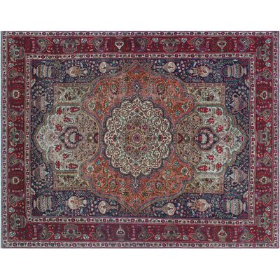 Geri Fine Distressed Hand-Knotted Blue Area Rug
