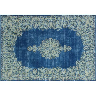 Vaughan Distressed Hand-Knotted Blue Area Rug