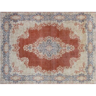 One-of-a-Kind Monte Distressed Hand-Knotted Rust Area Rug