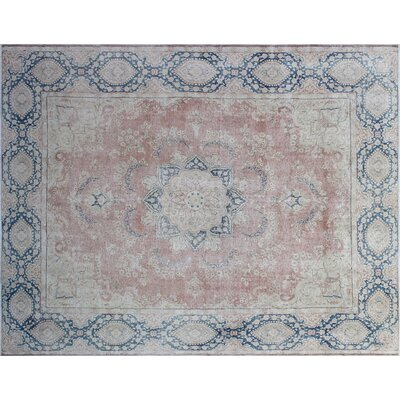Earline Distressed Hand-Knotted Blue/Red Area Rug