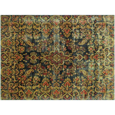 One-of-a-Kind Pearce Distressed Hand-Knotted Green Area Rug