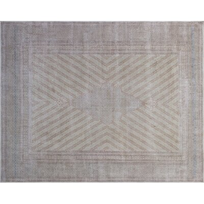 Rita Distressed Hand-Knotted Beige Area Rug