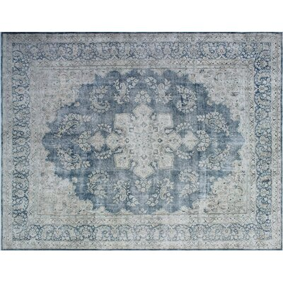 One-of-a-Kind Janis Distressed Hand-Knotted Blue Area Rug