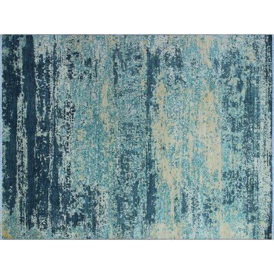 One-of-a-Kind Jackson Teal Hand-Knotted Blue Area Rug