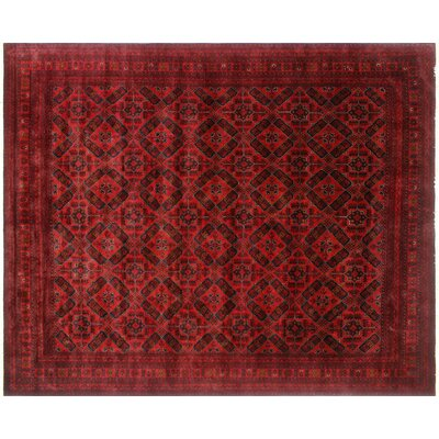 Alban Fringe Hand-Knotted Red Wool Area Rug