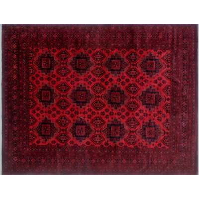 Alban Hand-Knotted Red Wool Area Rug