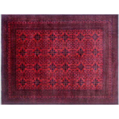 Alban Hand-Knotted Rectangle Red Wool Area Rug