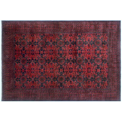 Alban Geometric Hand-Knotted Red Area Rug