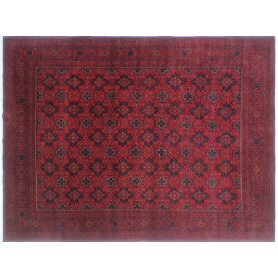 One-of-a-Kind Alban Geometric Hand-Knotted Rectangle Red Area Rug
