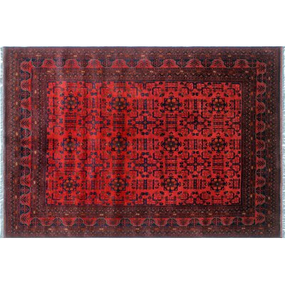 One-of-a-Kind Alban Geometric Hand-Knotted Red Premium Wool Area Rug