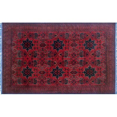 Alban luxury Hand-Knotted Rectangle Red Indoor Area Rug