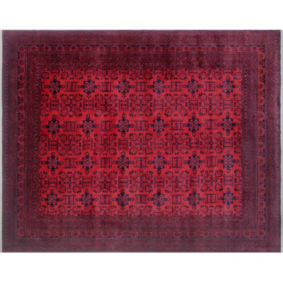 One-of-a-Kind Alban Neutral Geometric Hand-Knotted Red Indoor Area Rug
