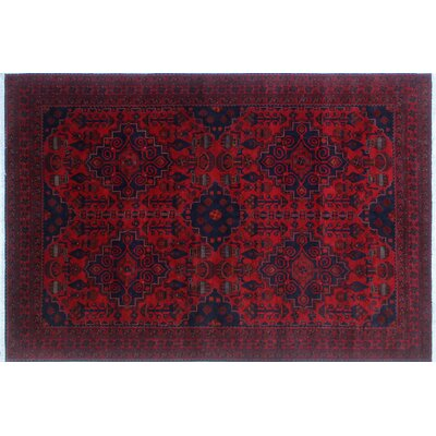 Alban Hand-Knotted Red Indoor Rectangle Area Rug