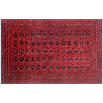 One-of-a-Kind Alban Geometric Hand-Knotted Red Indoor Wool Area Rug