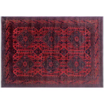 One-of-a-Kind Alban Geometric Hand-Knotted Rectangle Red Indoor Area Rug