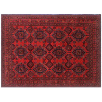One-of-a-Kind Alban Hand-Knotted Rectangle Red Indoor Wool Area Rug