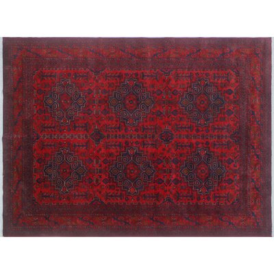 Alban Geometric Hand-Knotted Red Indoor Area Rug
