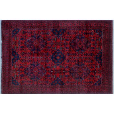 Alban Hand-Knotted Rectangle Dark/Red Area Rug