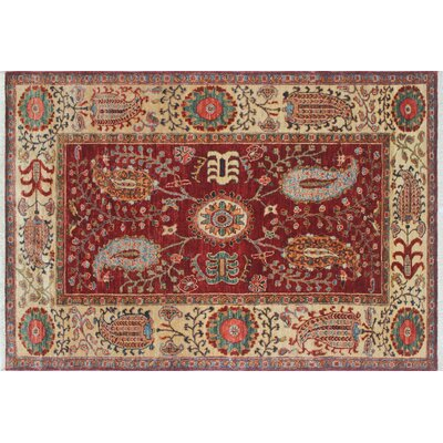 Acer Hand-Knotted Red/Ivory Area Rug