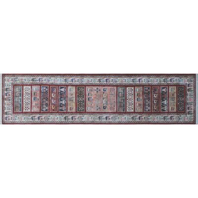 Acer Hand-Knotted Runner Red Area Rug