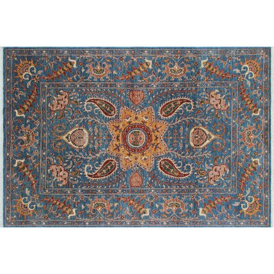 One-of-a-Kind Acer Hand-Knotted Blue Area Rug