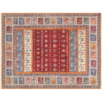 Acer Striped Hand-Knotted Red Area Rug