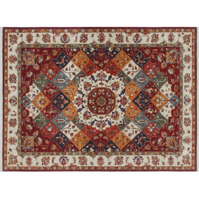 One-of-a-Kind Acer Geometric Hand-Knotted Red Wool Area Rug