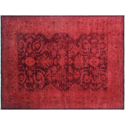 One-of-a-Kind Rachelle Overdyed Hand-Knotted Red Area Rug