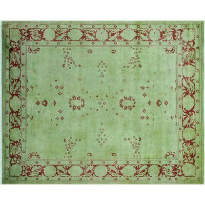 One-of-a-Kind Deray Overdyed Hand-Knotted Green Area Rug