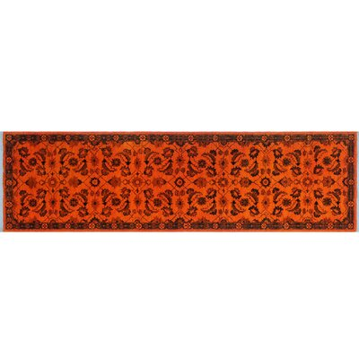 One-of-a-Kind Dries Overdyed Hand-Knotted Orange Area Rug