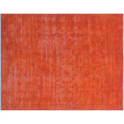 Mariana Overdyed Distressed Hand-Knotted Orange Area Rug