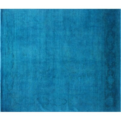 One-of-a-Kind Ursae Overdyed Hand-Knotted Teal Blue Area Rug