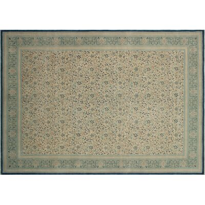 One-of-a-Kind Leann Hand-Knotted Rectangle Ivory Wool Area Rug